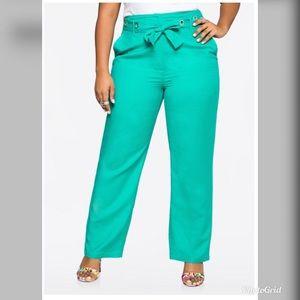 Ashley Stewart Grommet Belt Linen Pant
